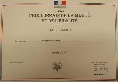 Poincaré lauréat du prix Lorrain de la mixité et de l'égalité !